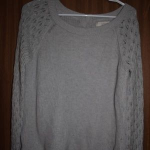 Loft Grey Button Down Back Sweater M